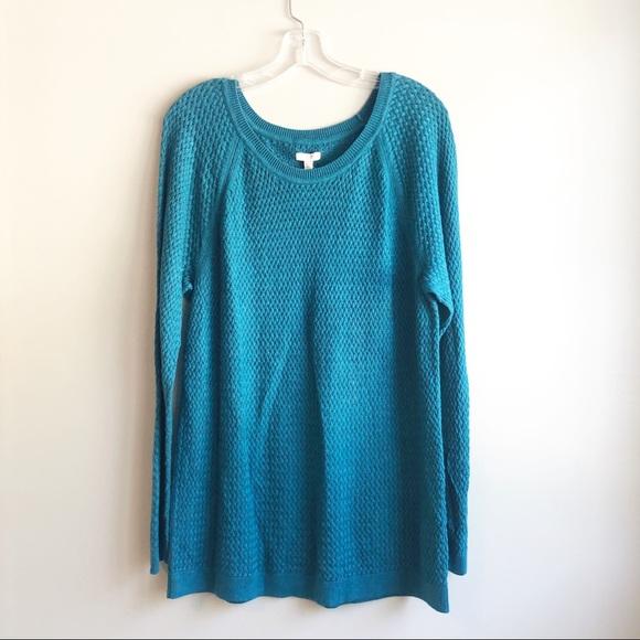 Sonoma Women's Sweater Size XL CABLE KNIT TOP Aqua